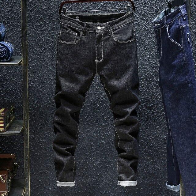 2020 סתיו Winterr שחור וכחול ג ינס גברים ג ינס מכנסיים זכר באיכות גבוהה slim fit ז אן מותג בתוספת גודל 40 42 44 46