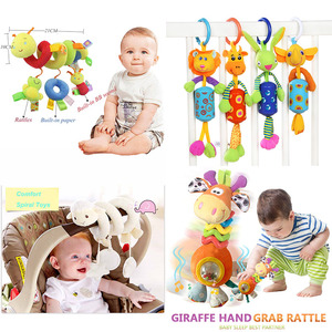 Image 2 - Baby Stroller Toys Cute Animals Rattle Bed Crib Car Hanging Stroller Spiral Plush Appease Toys Teether Developmental Rattles Toy