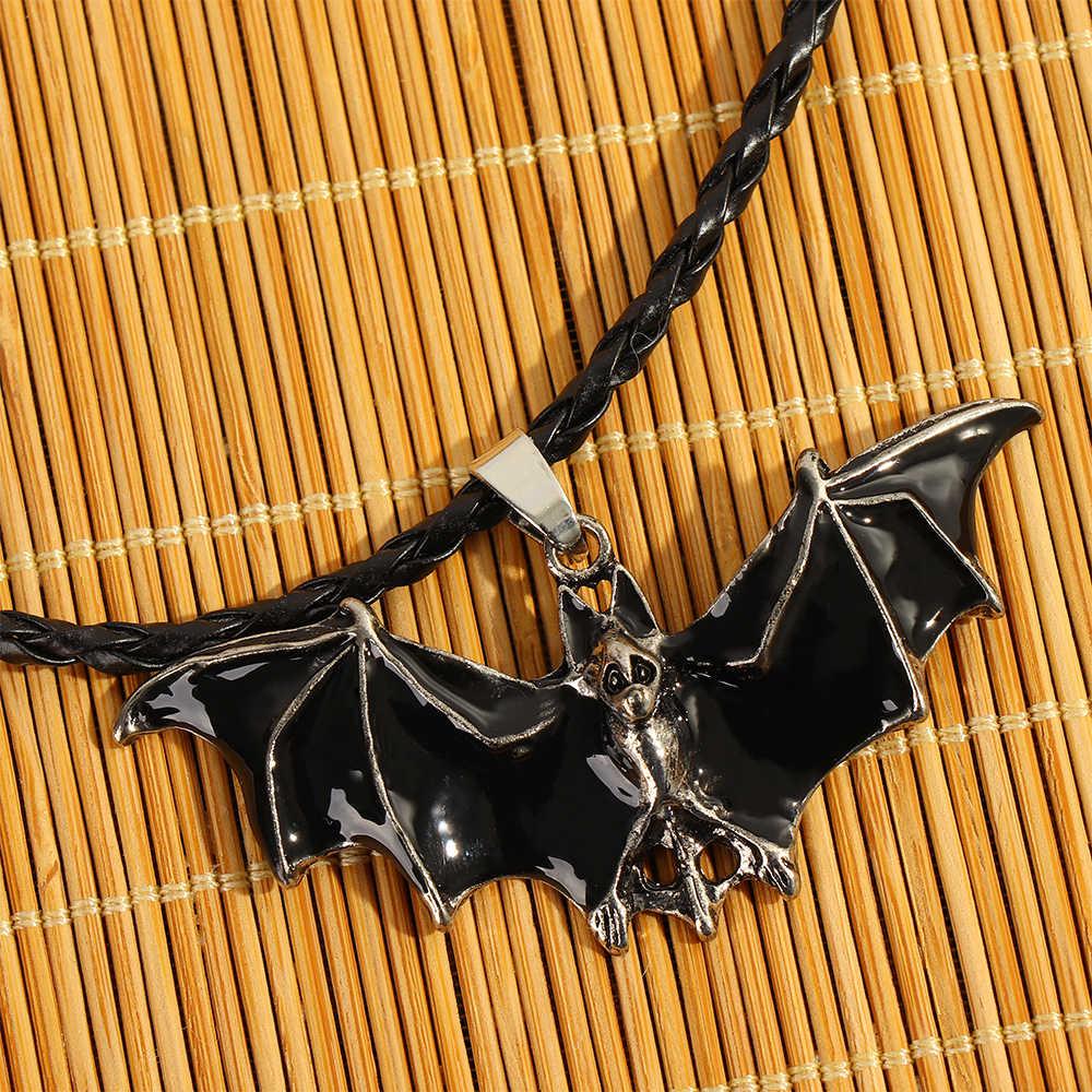 パンクバットフライ夜チラシ吸血鬼ヴィンテージ革男性のチェーン仮装恐怖動物チャームジュエリークール古代ギフト
