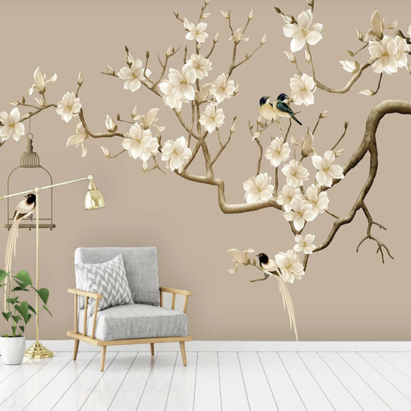 Photo Wallpaper Chinese Style Hand-painted Flower And Bird Figure Magnolia Flower Murals Living Room Study Home Decor Wallpapers