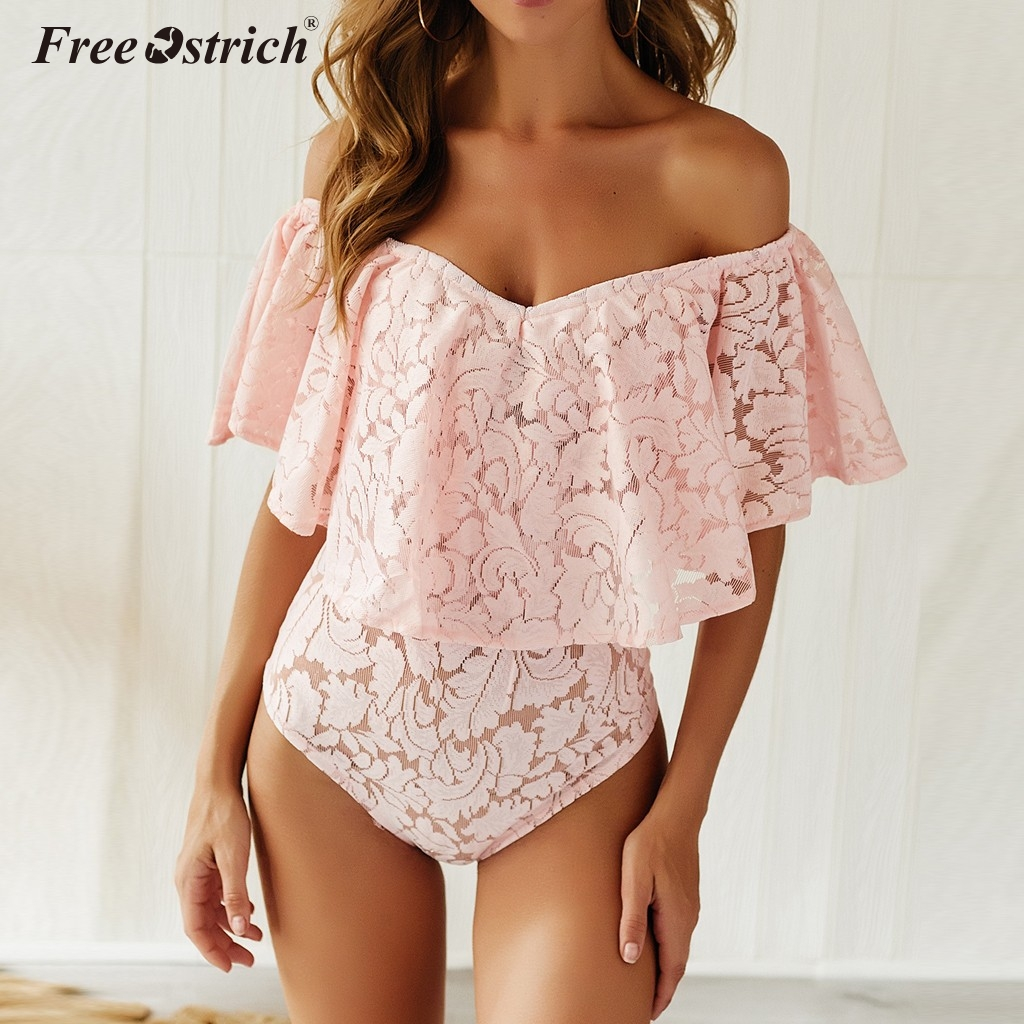 Free Ostrich Summer Jumpsuit Women Ruffle Short Sleeves Body White Bodysuits Women Sexy Rompers Overalls Combinaison Femme N30