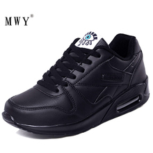 MWY Winter Fashion Women Casual Shoes Leather Platform Sneakers Ladies Black Trainers Light Weight Zapatillas Mujer