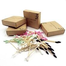 Эко биоразлагаемые бамбуковые ватные палочки компостабильные деревянные ушные палочки деревянные палочки для макияжа ватные палочки