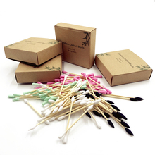 Eco Biodegradable Bamboo Cotton Swabs Compostable Wooden Ear Sticks Swabs Wood Sticks Makeup Cotton Buds