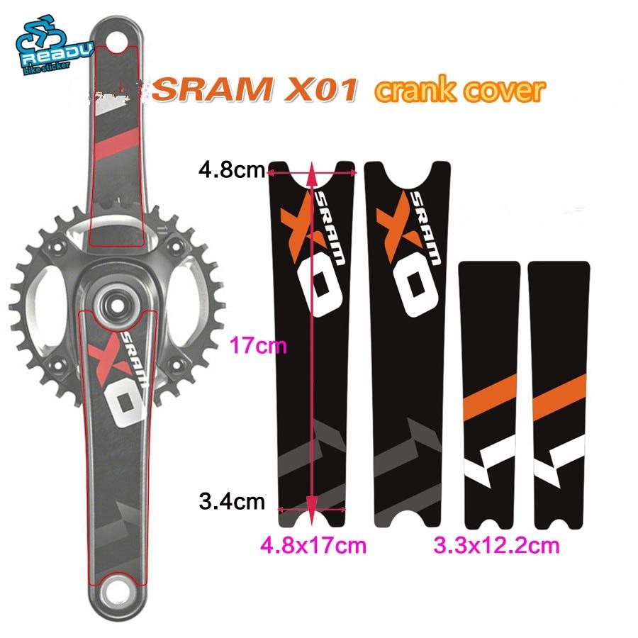 Crank Set Sticker Decal MTB SRAM X0 Mountain Bike Bicycle Adhesive 4 Pcs Yellow