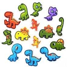 14 шт красочные Мультяшные динозавры для шитья/термоклейкие