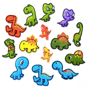14Pcs Colorful Cartoon Dinosaur Sew/Iron On Appliques Embroidered Patches DIY Craft Decorative Badge for Kids Clothes 3pcs pink flowers pearl clothes embroidered sew on patches for clothing diy stripes motif appliques parches