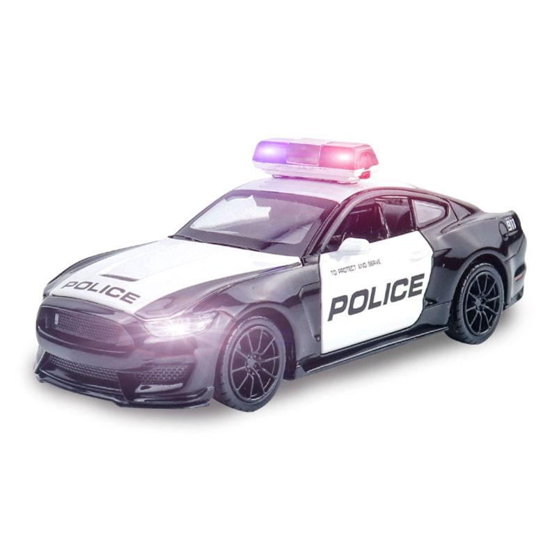 Friction Powered Police Car 1:16 Kids Plastic Toy Rescue Emergency Cop Vehicle 72XC