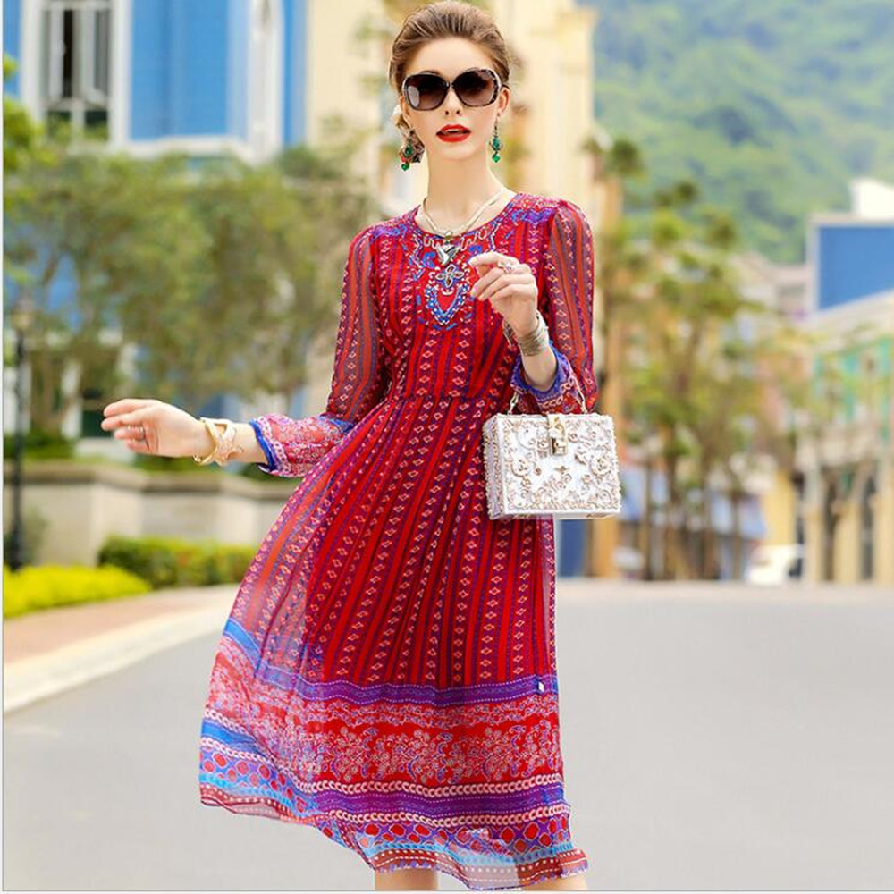 Plus Size spring and summer lady Women clothing loose printed embroidery mulberry silk real silk dresses 0483