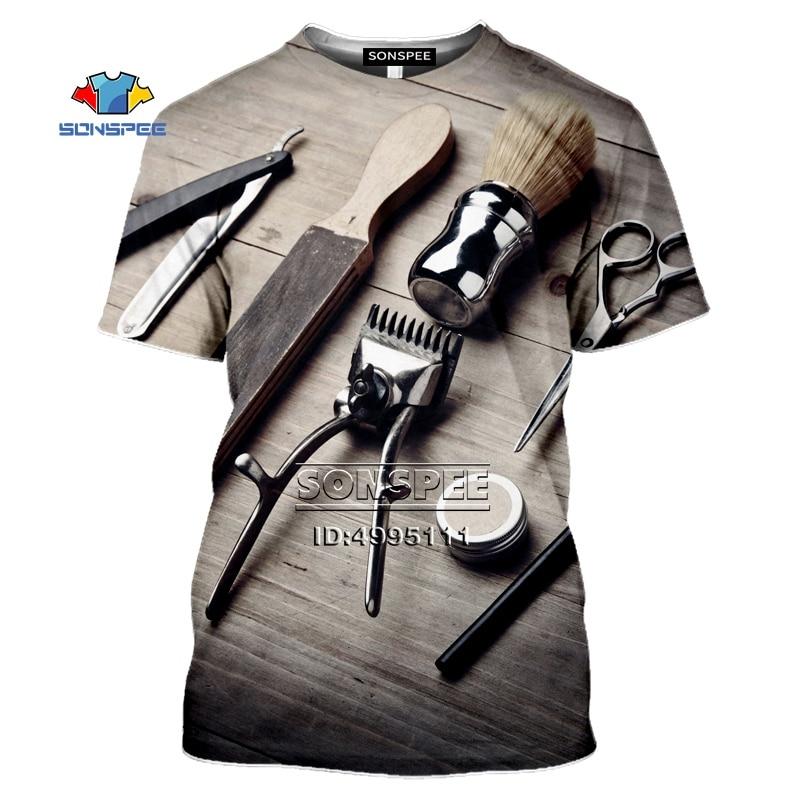 SONSPEE Men's T-Shirts New Barber Hairdresser Shears 3D Print Women Summer Tshirt Casual T Shirt Men Tee Tops Fitness Clothes