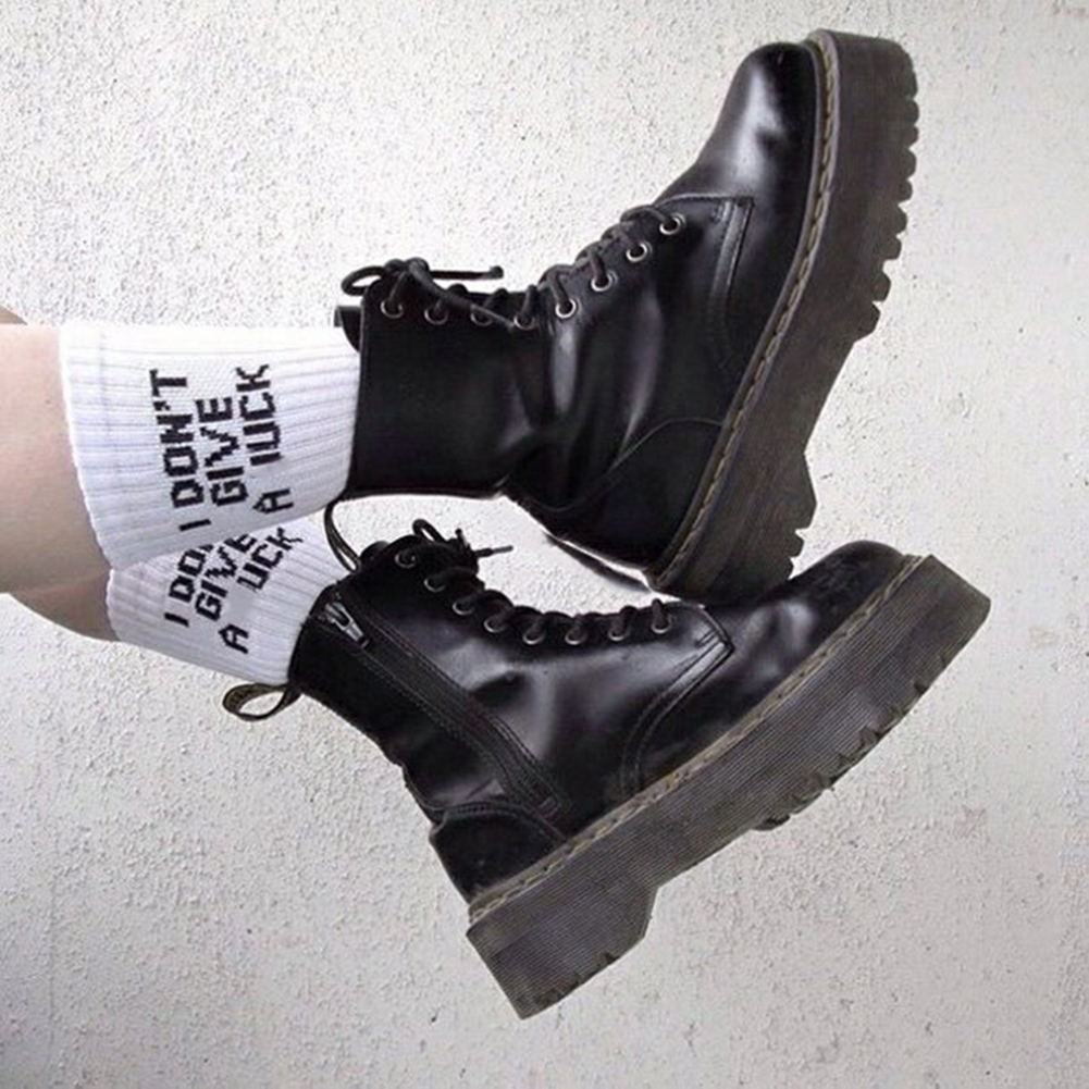 1pair Humor Words Print Warm Casual Socks Autumn Winter White Socks Cotton Socks Grunge Style Girls Cool White Casuals Awesome