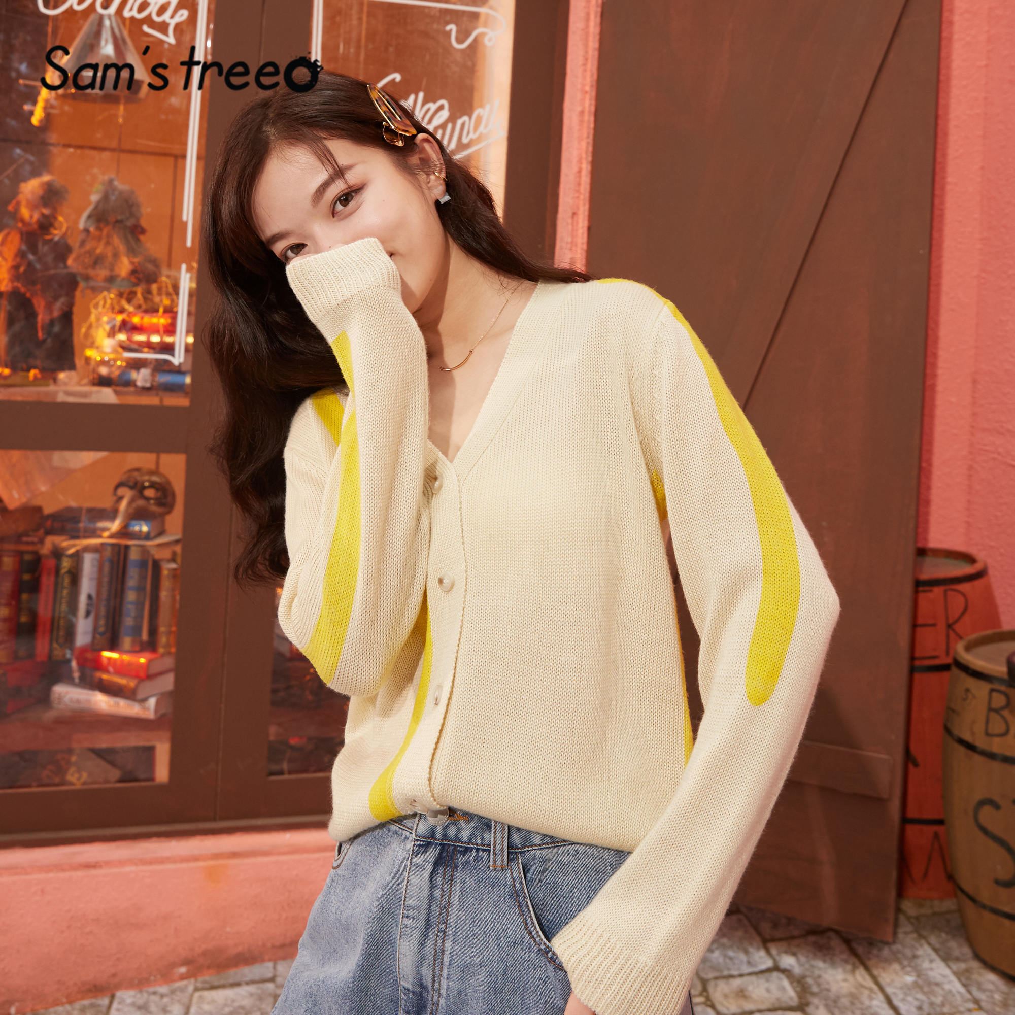 SAM'S TREE Apricot Solid Single Breasted Knit Women Cardigan Sweaters 2020 Spring Colorblock Long Sleeve Korean Girly Daily Tops