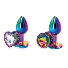 Arco-íris rosa de ouro pequeno tamanho médio conjunto coração forma metal cristal contas anal plug butt jóias brinquedo do sexo para o sexo feminino masculino