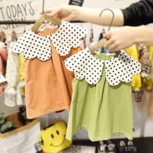 Girl Baby Dress Summer Polka Dot Collar Princess Dress Short Sleeve Children Kids Infant Clothes Dress split bell sleeve cut and sew polka dot dress
