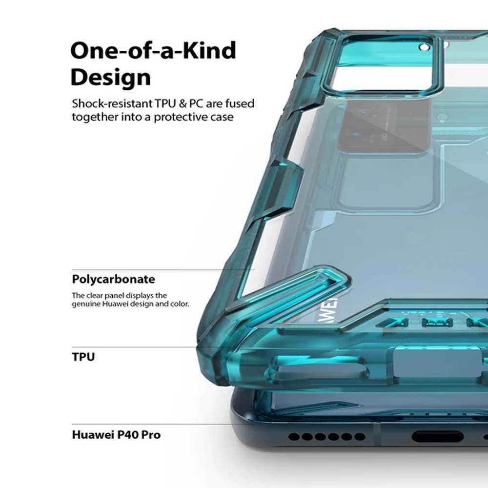 Ringke Fusion X untuk Huawei P40 Pro Case Dual Layer Tugas Berat Drop Perlindungan PC Clear Back Cover dan Lembut bingkai TPU Hybrid