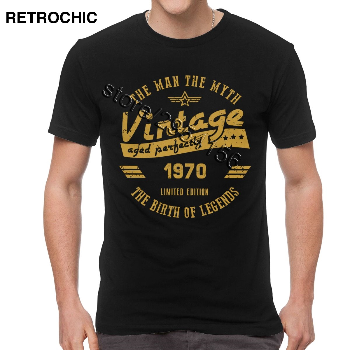 Classic Men Cotton The Birth Of Legend 1970 T Shirt Short Sleeved The Man The Myth 50th Birthday Gift Tee 50 Years Old T-Shirt