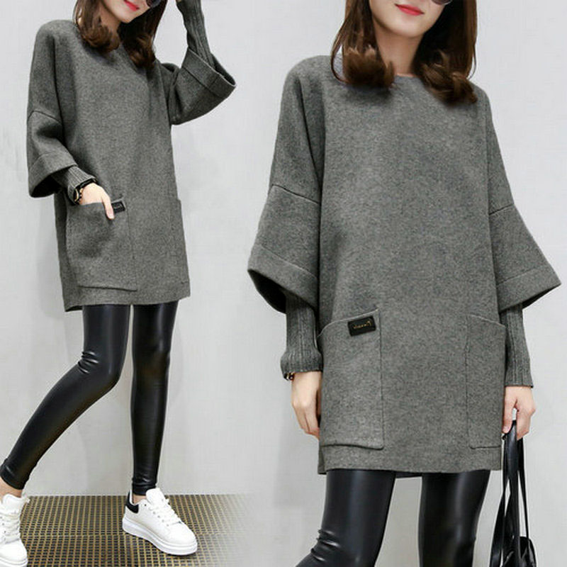 ALI shop ...  ... 1000008985668 ... 3 ... Women Fake Two Pieces Sweatershirt Winter Autumn Thick Tops Loose Pullover Plus Size TS95 ...