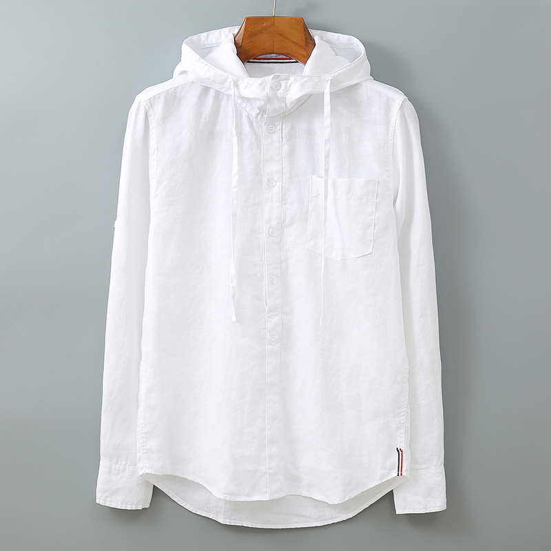 100%Linen Men Long Sleeve Hooded Shirt Solid White Blue Hat Stand Collar Pullover Fashion Casual Shirts Y2250