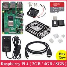 מקורי פטל Pi 4 דגם B 2.4G & 5G WiFi Bluetooth 5.0 2GB/4GB/8GB RAM + Rapberry Pi 4B מקרה כוח אספקת אלומיניום חום כיור