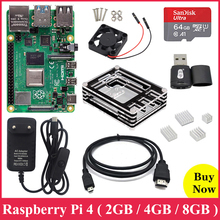 جهاز Raspberry Pi الأصلي موديل 4B 2.4G & 5G مزود ببلوتوث واي فاي 5.0 2GB/4GB/8GB RAM + Rapberry Pi 4B مزود بالتيار الكهربائي بالوعة حرارة من الألومنيوم