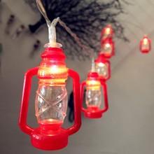 LED Retro Kerosene Lamp Strings Muslim Ramadan Festival Decor Lantern Lamps Lighting 1.65m 10leds 3m 20leds