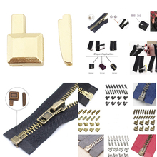 20 Sets #5 Metal Zippers Latch Slider Retainer Bottom Stops Insertion Pin
