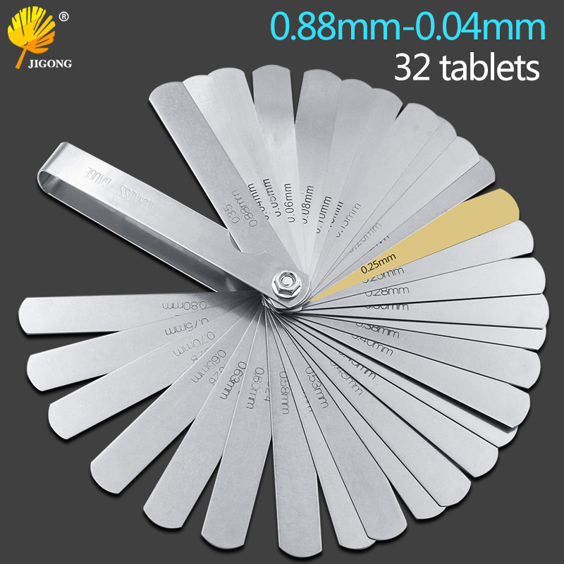 32pcs Range Finder Feeler Gauge Valve Teaching Feeler Gauge 0.04-0.88 Mm Gap Size .0015-.035 Copper Sheet