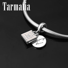 Fashion 925 Sterling Silver Pink Queen Handbag Shape Pendant Beads Fit Original Pandora Charm Bracelet Women Jewelry making(China)