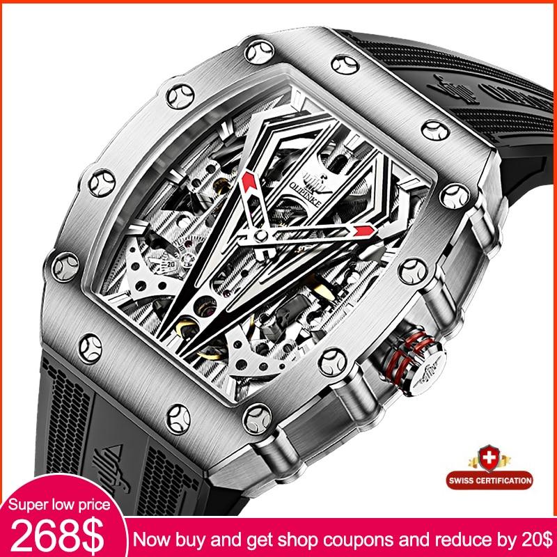 Роскошные брендовые модные автоматические механические мужские наручные часы OUPINKE со скелетом, водонепроницаемые ремешки для часов Cilicone, м...