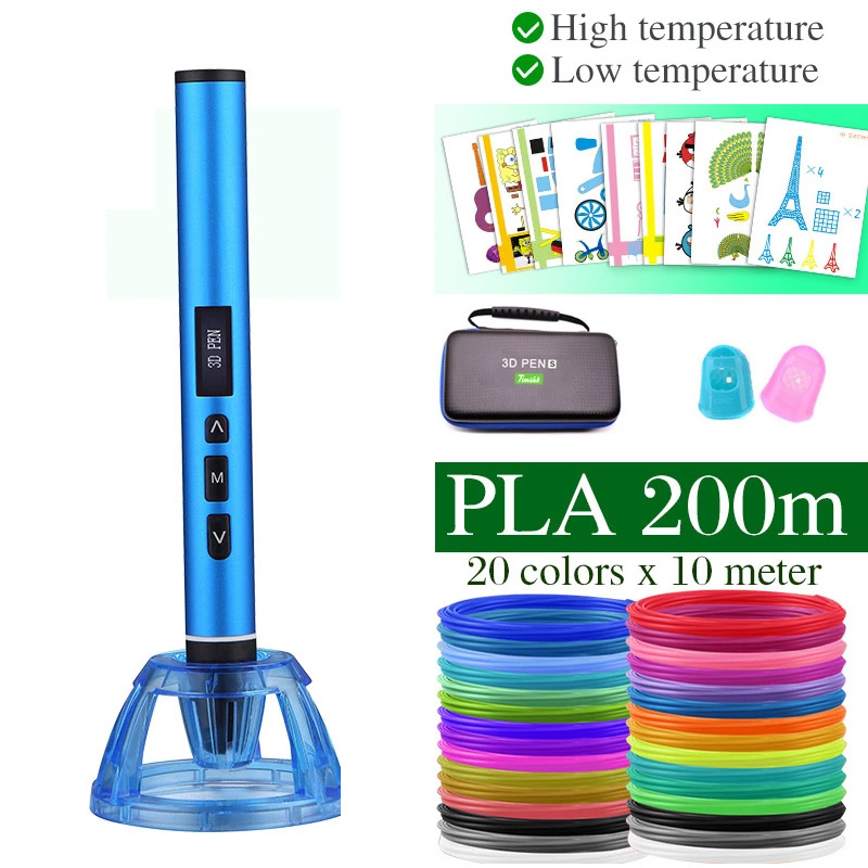 High And Low Temperature 3D Pen, 3D Printing Pen, Can Use PCL PLA Filament. Metal Case With Carrying Case, Birthday Present