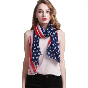 цена на 70*160CM Women American Flag Scarf Soft Chiffon USA flag Scarves American Independence Day Women Shawl