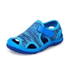 Летние для маленьких девочек детские сандалии(для мальчика) пляжные сандалии Мягкая подошва Нескользящая обувь для младенцев Детская уличная анти-столкновения обувь