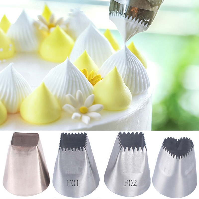 3pcs Square Big Icing Piping Nozzles For Decorating Cakes Heart Shape Pastry Tips Cupcake Cream Nozzles Cake Decorating Tools