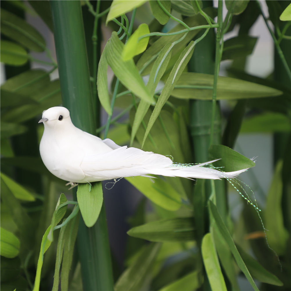Artificial Simulation 12pcs Foam Bird White Feather Lawn Figurine Ornament DIY Craft for Wedding Decoration Party Accessories