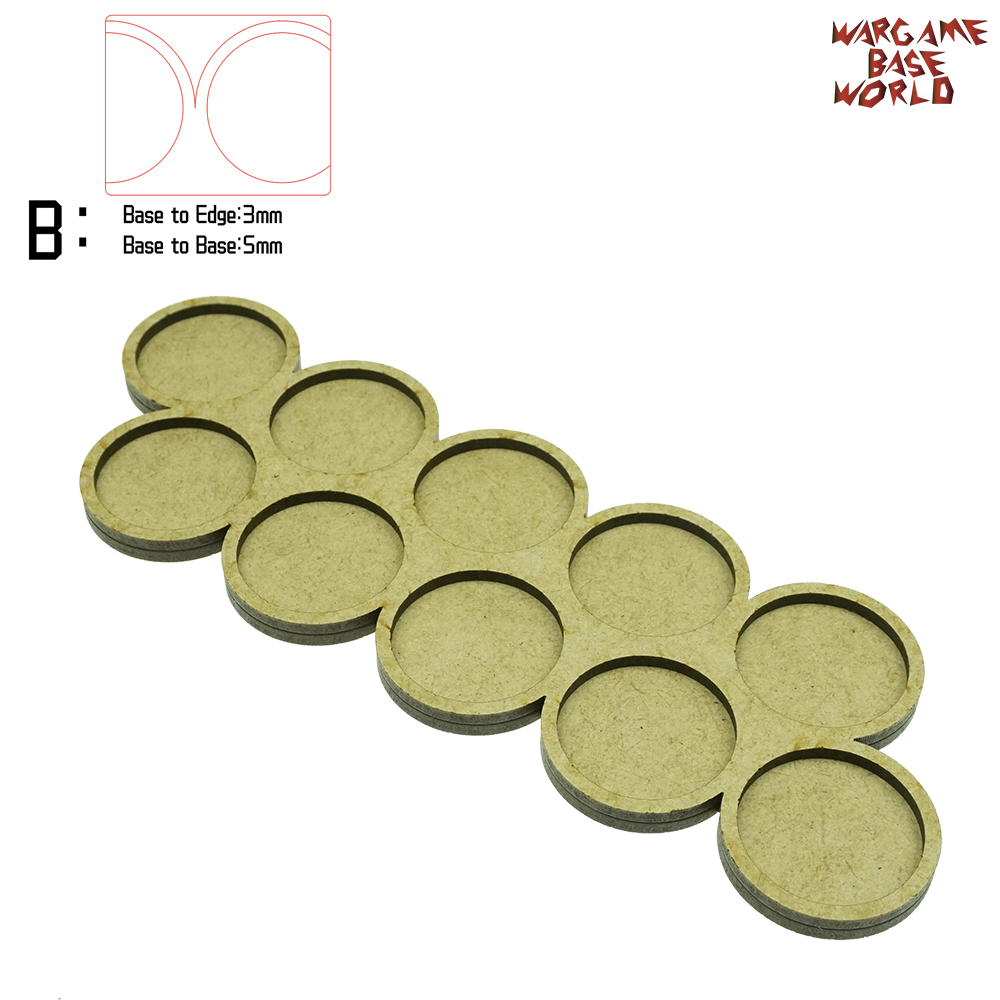 Wargame Base World - Movement Tray - 10 Bases 32mm Round - Double Line Shape MDF