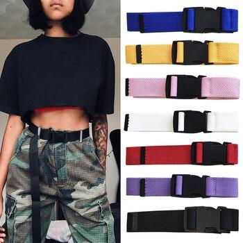 Adults Adjustable All-Match Belt Unisex Korean Style Canvas Belts Vintage Plastic Buckle Elastic Sol