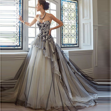 Vintage, victoriano gótico vestido de negro y champán tul encaje apliques decorado, vestido de boda de la vendimia