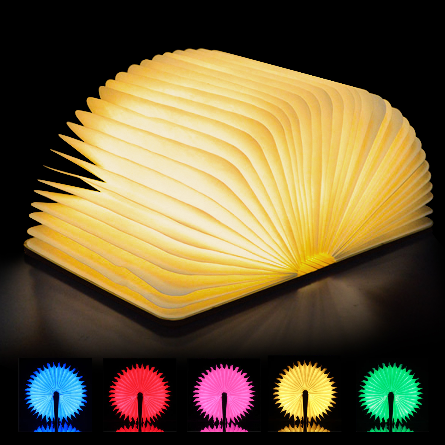 Kohree Art Led Book Lamp Light USB Rechargeable Foldable Wooden Night Light Valentine Birthday Christmas Gift for Family Friend
