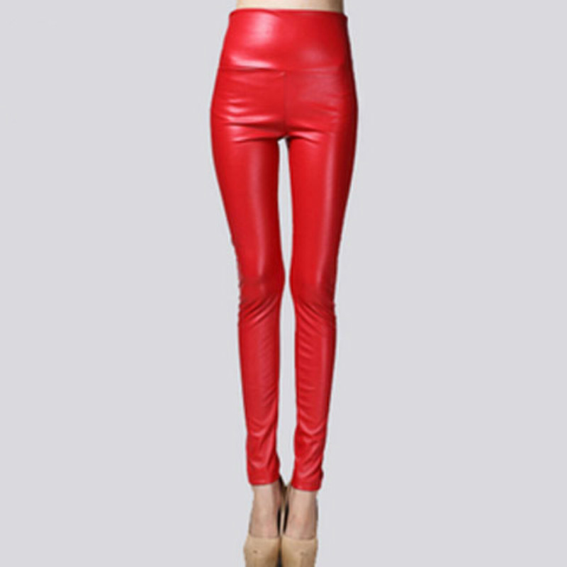 Autumn Winter Women Thin Velvet PU Leather Pants Female Sexy Elastic Stretch Faux Leather Skinny Pencil Pant Women Tight Trouser 3