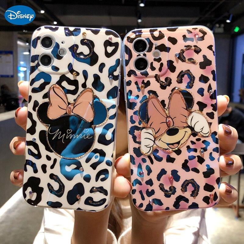 Disney dos desenhos animados leopardo minnie caso de telefone para o iphone 11 caso de telefone de luxo para o iphone 7 8 plus x xr 12 pro max caso