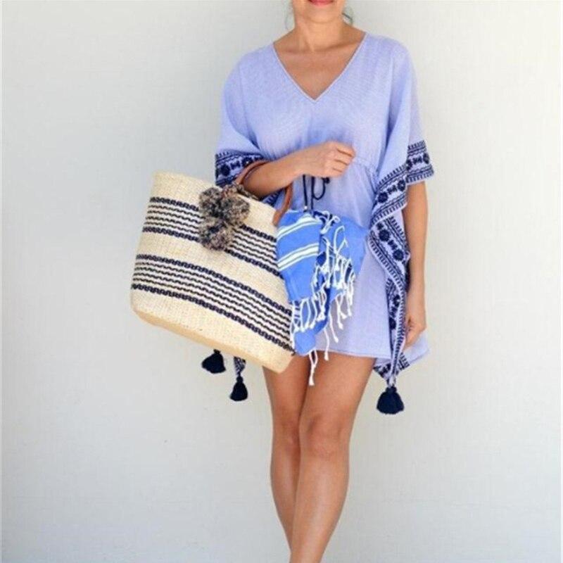 European And American Tide Style Handmade Bohemia Vacation Striped Pompom Straw Bag Handbag Beach Bag