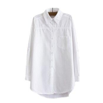 RICORIT Women Long Blouse Women White Shirt Office Ladies 100% Cotton Shirts Casual Cotton Blouse Fashion Blusas Femininas 2