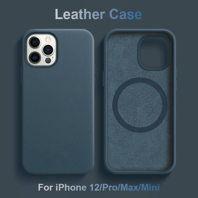 Capa de couro genuíno para iphone 12 pro max, estojo para celular magnético, para iphone 12 pro max