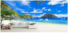 Custom mural 3d wall mural Beautiful blue sky and white clouds coconut trees ocean scenery photo wallpaper in the living room(China)