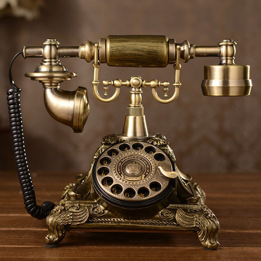 Teléfono antiguo europeo rotatorio de diseño Retro teléfono fijo con anillo mecánico, altavoz y función de rellamada para el hogar
