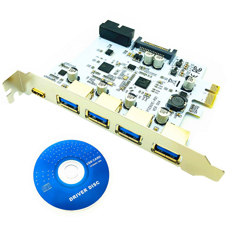 USB 3.1 Type C PCIe Expansion Card PCI-e to 1 Type C + 4 Type A 3.0 USB Adapter PCI Express Riser Card with USB 19pin Connector