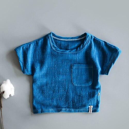 Японская хлопковая тонкая футболка в стиле ретро с коротким рукавом из конопли для малышей летняя рубашка из бамбукового хлопка с коротким рукавом для мальчиков и девочек - Цвет: Небесно-голубой