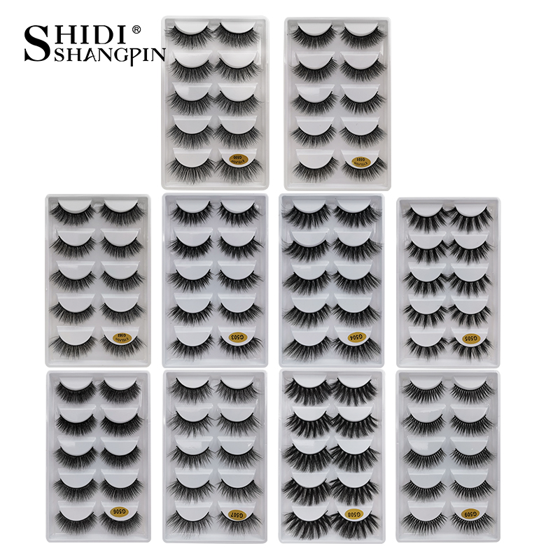 New 5 Pairs False Eyelashes Natural Mink Eyelashes Handmade 3d Mink Lashes Dramatic False Eyelash For Makeup Maquiagem Mink Cilo