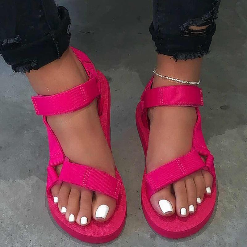 Rimocy/Большие размеры 43; Сандалии с ремешками; Женские модные сандалии на платформе с застежкой липучкой; Женские красные, белые Нескользящие туфли на плоской подошве; Женская летняя обувь|Боссоножки и сандалии|   | АлиЭкспресс