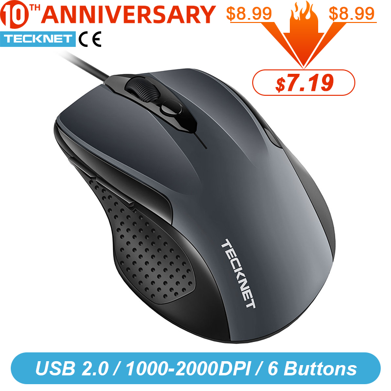 TeckNet Pro S2 Mouse Wired USB Mouse for Computer PC Mouse 2000DPI 1000DPI Ergonomic Mouse Shape 6 Buttons Mice for Asus Xiaomi